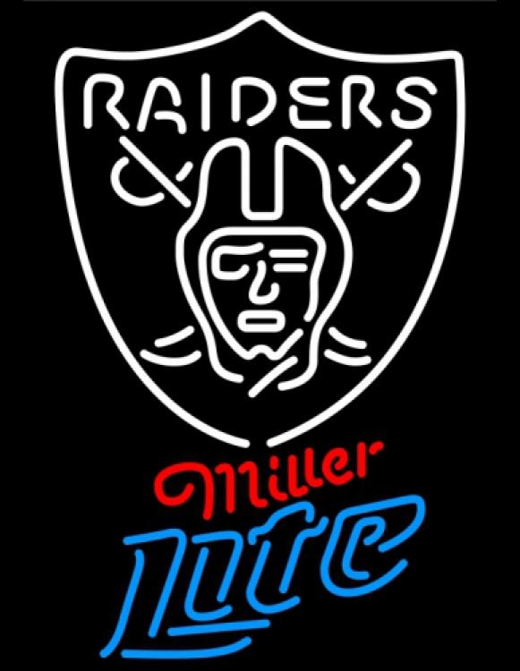 Miller Lite NFL Oakland Raiders Neon Sign