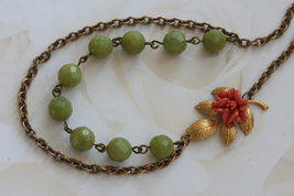 Coral Flower Necklace, Green Gemstone Necklace , Vintage Bridal Jewelry,... - $46.00