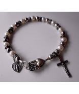 Pearl Sterling Silver Rosary Crucifix & Blessed Mother Charm Bracelet EK... - $87.22