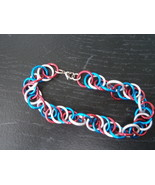 USA Flag spiral bracelet with small gun metal lobster clasp - $12.00
