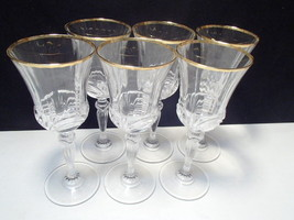 6 RCR Gold Aurea Wine / Water Goblets - $34.95