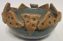 Studio Art Pottery Bowl Hand Built Signed OOAK - $84.64