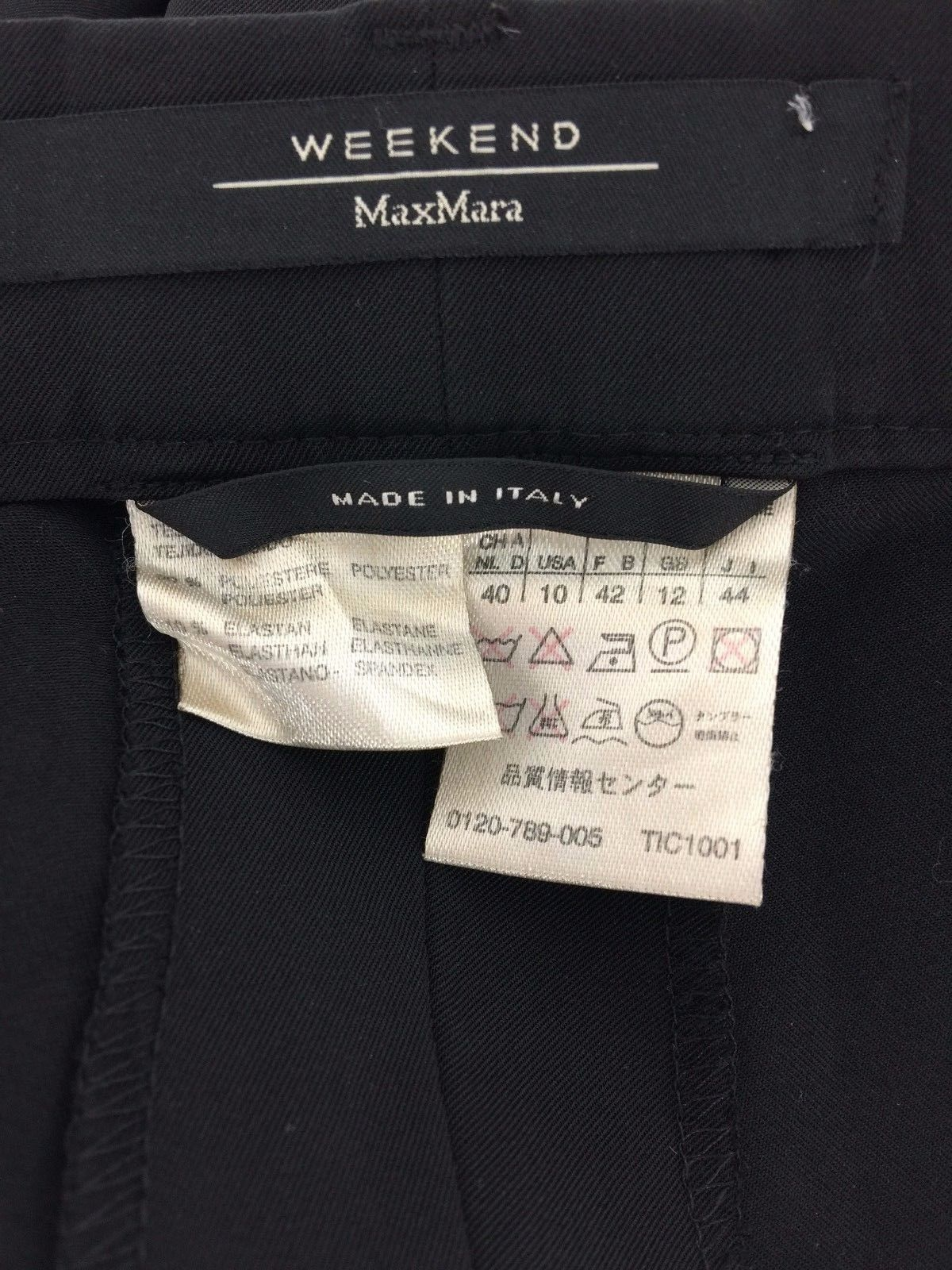 Max Mara Weekend 10 Large Dress Pant Black Suiting Stretch 3 Pocket Work Lined
