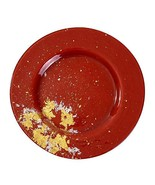 Syosaku Japan Urushi Glass Dinner Plate Φ12.5-inch Vermilion with Gold L... - $139.80
