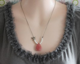 Pink Necklace, Pink Stone Necklace, Cherry Quartz and Pearl Necklace , S... - $36.00