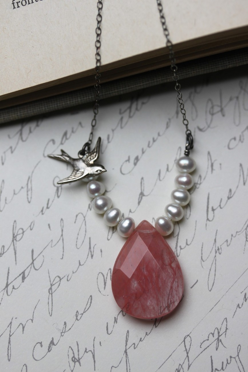 Pink Necklace, Pink Stone Necklace, Cherry Quartz and Pearl Necklace , Strawberr