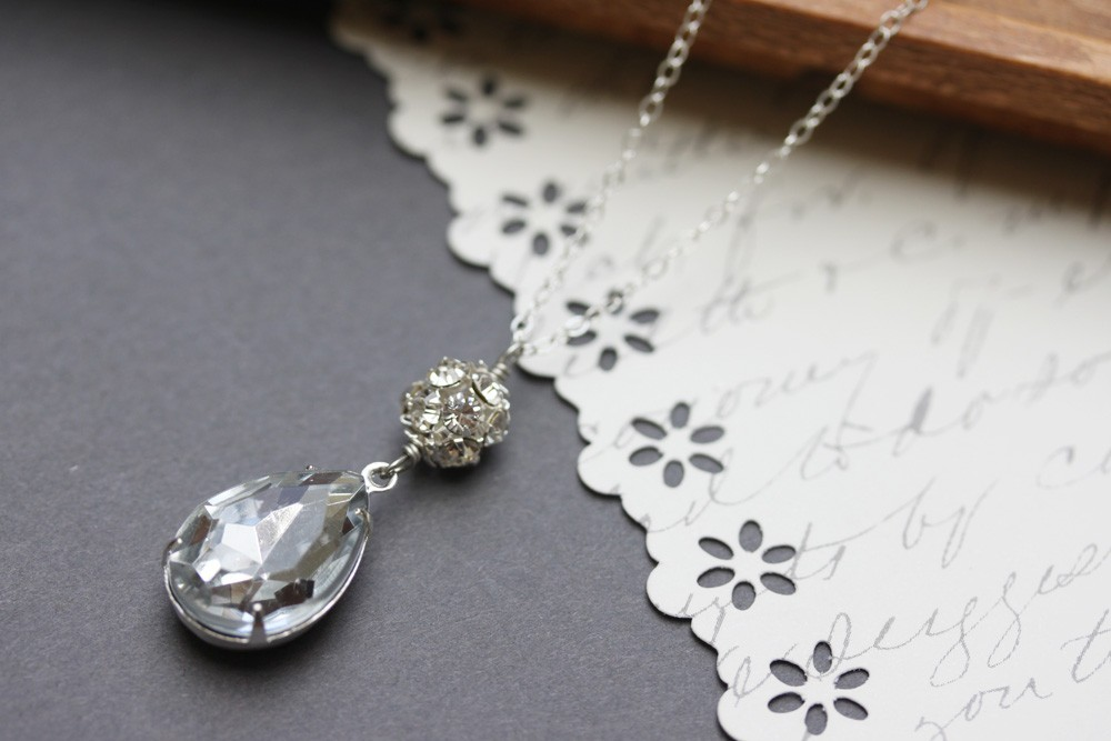 Primary image for Vintage Crystal Rhinestone Necklace ,Teardrop Necklace, Bridal Jewelry
