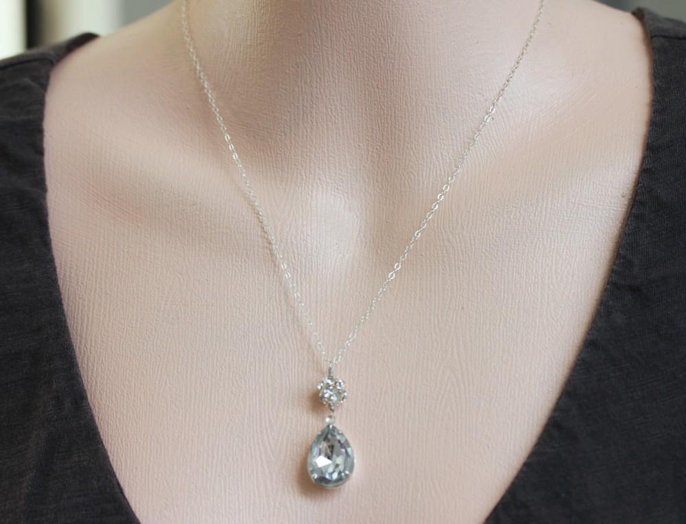 Vintage Crystal Rhinestone Necklace ,Teardrop Necklace, Bridal Jewelry