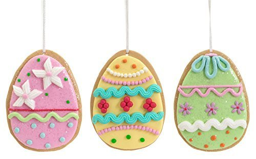Easter Egg Ornaments Set of Three Clay Dough