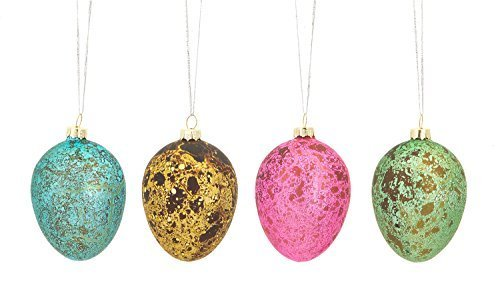 Easter Egg Ornaments Set of Four Glass with Metallic Finish