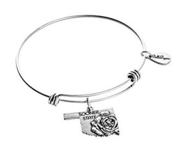 State of Oklahoma Charm Bangle Bracelet (Silver-plated-base) (silver-plated-b...