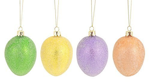 Easter Egg Ornaments Set of Four Glass with Microbeads
