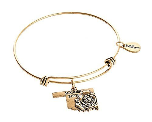 State of Oklahoma Charm Bangle Bracelet (Silver-plated-base) (gold-plated-base)