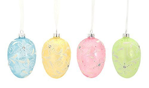 Easter Egg Ornaments Set of Four Pastel Glass w Floral Design