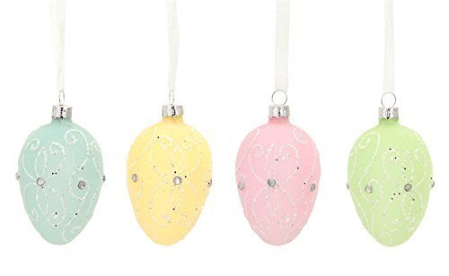 Easter Egg Ornaments Set of Four Glass w Scroll and Glitter