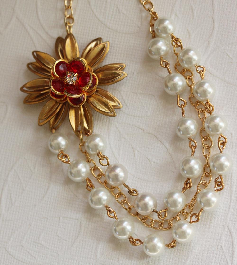 Red Rose Necklace, Pearl Jewelry, Swarovski Pearls, Bridal Jewelry,Flower Neckla