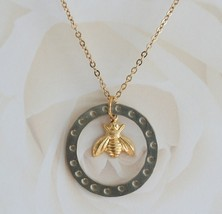 Bee Necklace , Eternity Necklace ,Honey Bee Necklace , Bee Charm , Circle of lif - $32.00