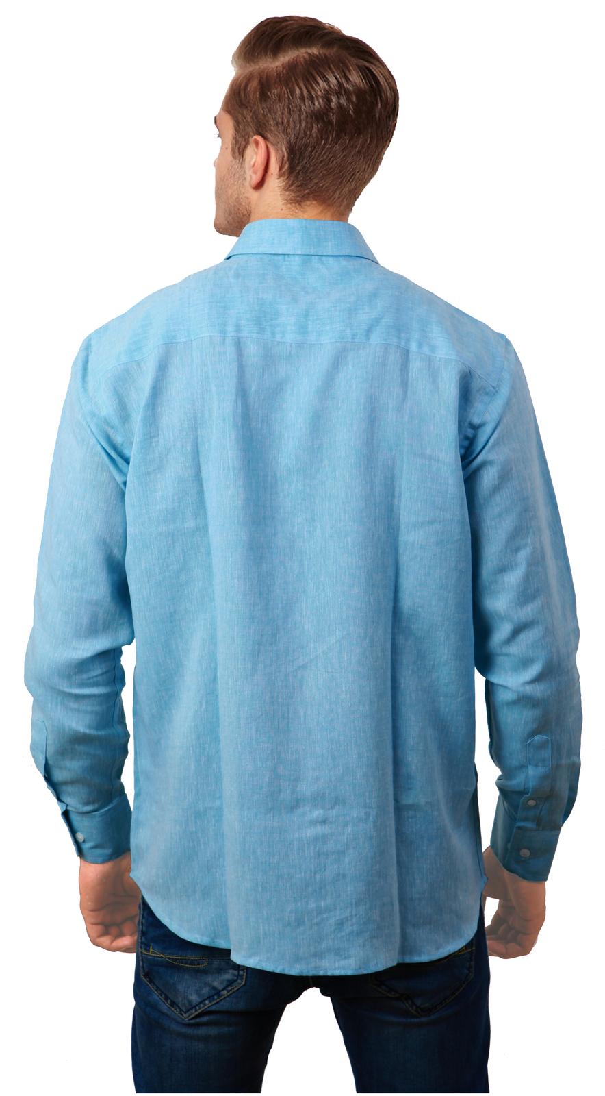 Cobrio pure linen light blue long sleeve shirt casual shirts for Linen long sleeve shirt