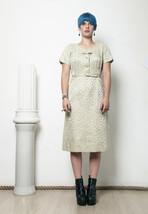 50s vintage flower printed beige velvet  &  taffeta party dress - $72.56