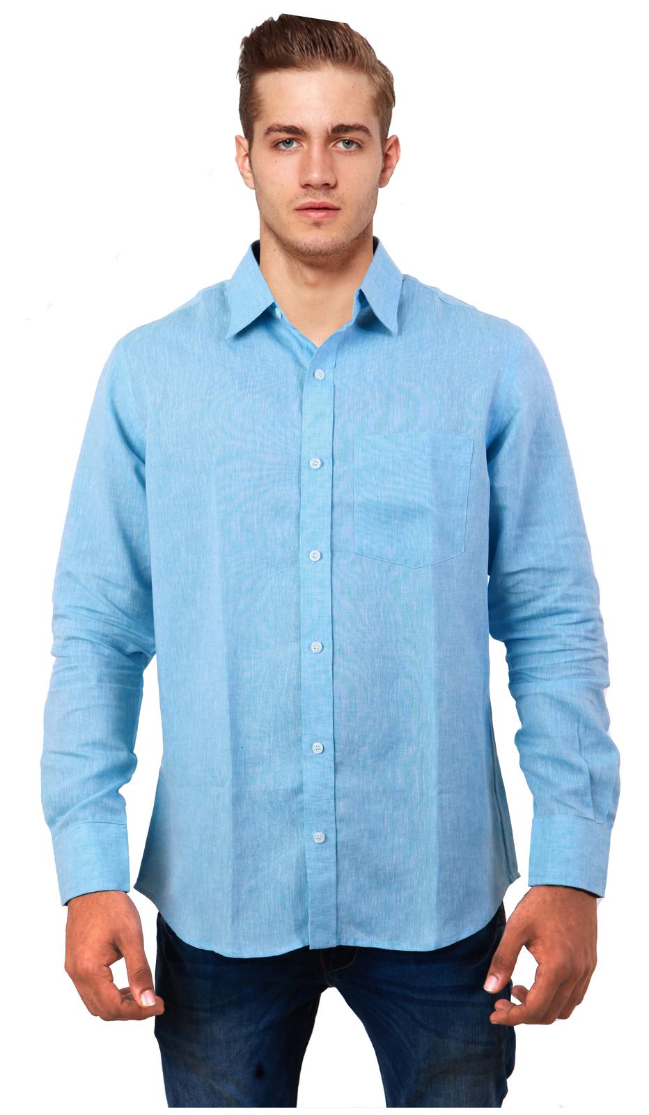 Cobrio linen long sleeve light blue shirt casual shirts for Linen long sleeve shirt