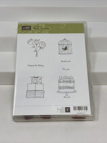 Primary image for Stampin Up Happy Moments Rubber Mount Stamp Set of 7 Bird Cage Floral 119125