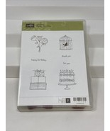 Stampin Up Happy Moments Rubber Mount Stamp Set of 7 Bird Cage Floral 11... - $12.86