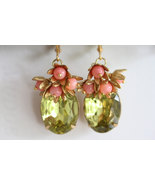 Coral Earrings, Green Glass Stones, Green Earrings,  Vintage Glass, Vint... - $42.00