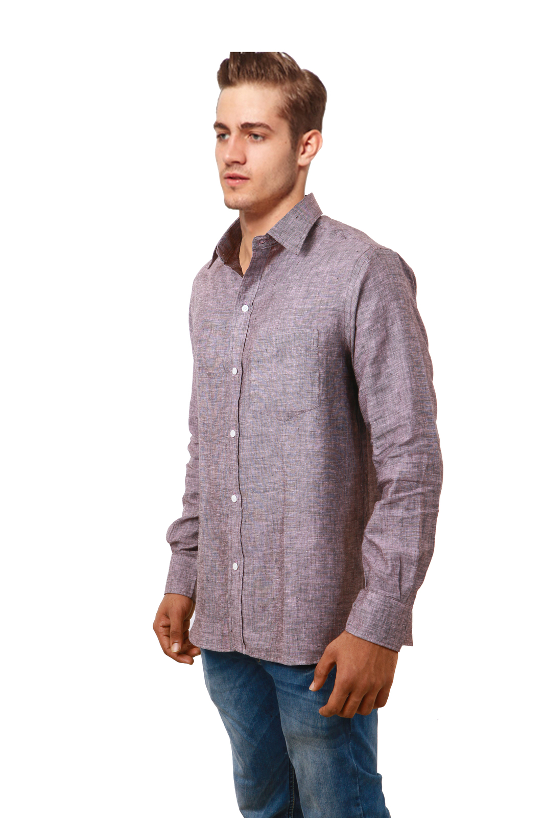 Cobrio pure linen lavender mix long sleeve shirt casual for Linen long sleeve shirt