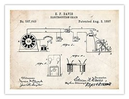 ELECTRIC CHAIR INVENTION POSTER 1897 US Patent Art Retro Print Gift Elec... - $24.95