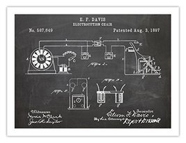 ELECTRIC CHAIR INVENTION POSTER Blackboard 1897 US Patent Art Retro Prin... - $24.95