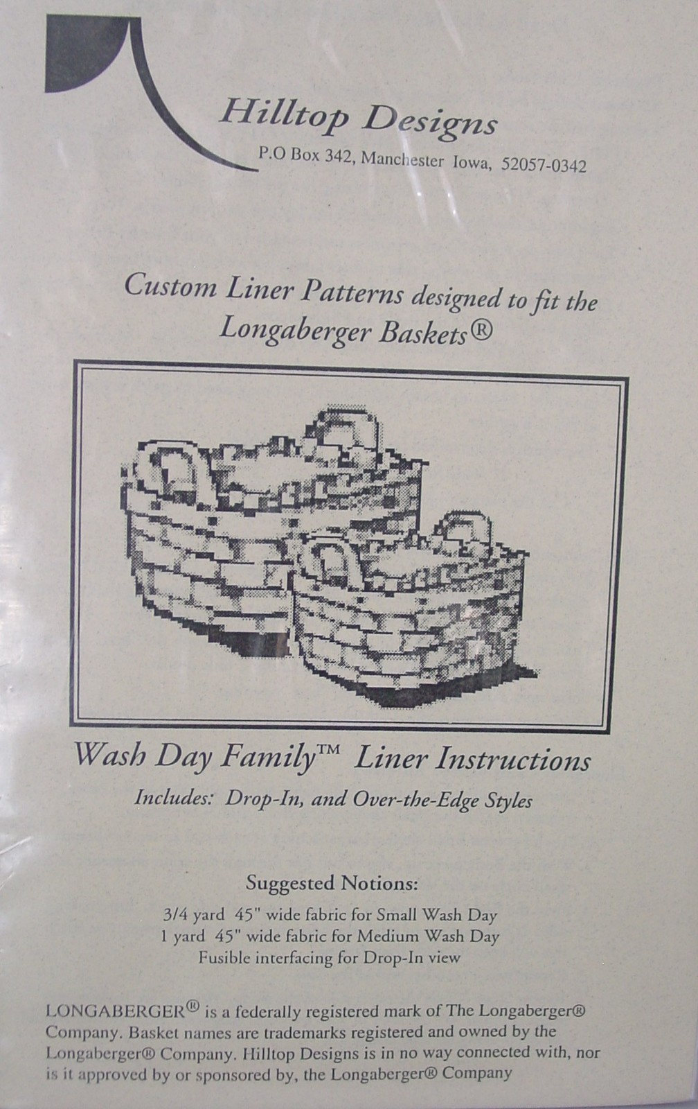 """Pattern """"Wash Day Family"""" Basket Liner Instructions - $5.69"""