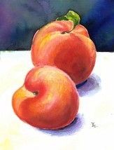 """Akimova: PEACHES, food, fruits, sweet, watercolor and ink, 4""""x5"""" - $8.00"""