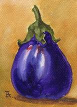 "Akimova: EGGPLANT, food, garden, blue,  ACEO, 2.5""x3.5"" - $6.50"