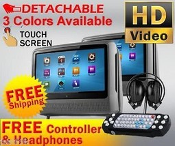 "2016 GRAY DUAL 9"" DIGITAL TOUCHSCREEN TOUCH HEADREST LCD MONITOR DVD PLA... - $299.00"