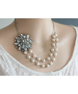 Pearl Necklace Free Matching Earrings,Crystal and Pearl Necklace, Weddi... - $52.00