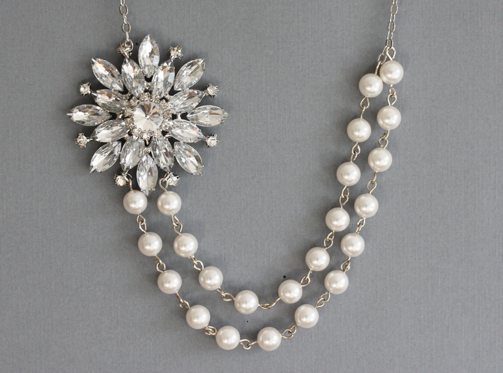 Pearl Necklace Free Matching Earrings,Crystal and Pearl Necklace, Wedding Neckl