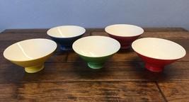 Vtg Porcelain Multi Color Bowl Set Of 5 Rice Dipping Desert Made In Japan - $29.69