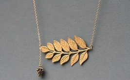 Pine Cone Necklace , Golden leaf Necklace, 14 Karat Gold Filled Chain, w... - $32.00