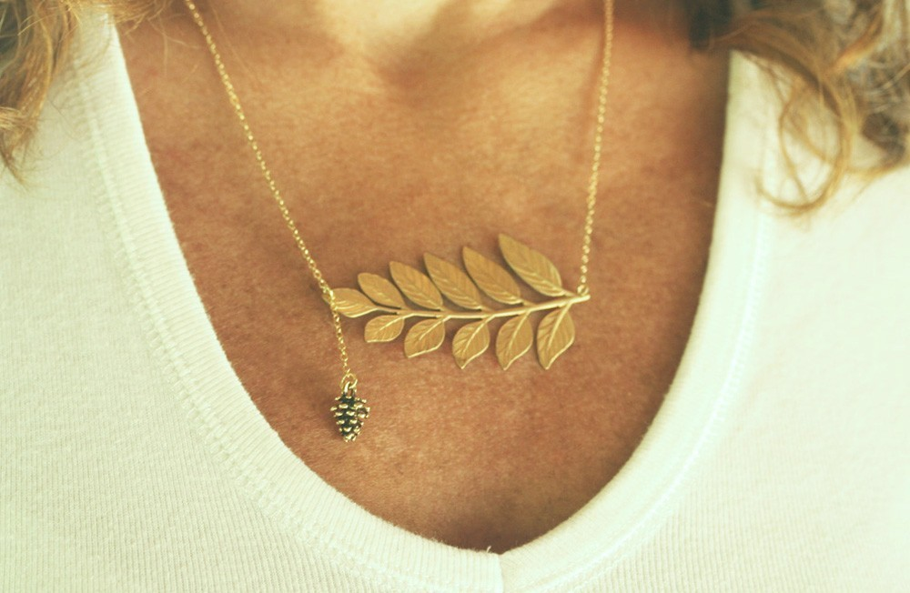 Pine Cone Necklace , Golden leaf Necklace, 14 Karat Gold Filled Chain, woodland