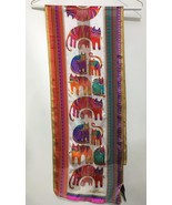 Laurel Burch Multi-Color Cats Felines Long Silk Scarf Beaded 11 x 54 Sun... - $37.73