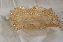 Federal Glass Yellow Topaz Square Bon Bon Diamond Ruffled Plate Bowl Dish - $11.39