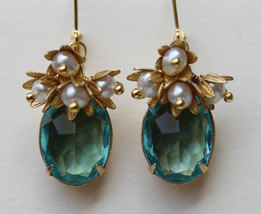 Turquoise Earrings , Vintage Glass Earring, Vintage Jewelry, Pearl and Turquoise - $36.00