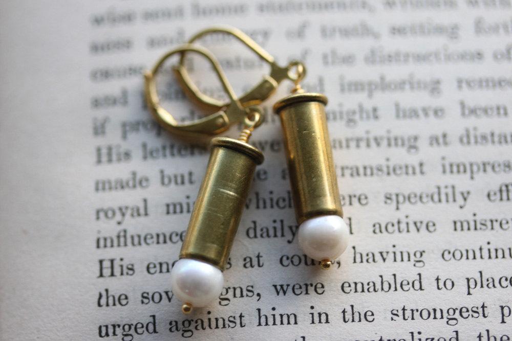 Bullet Earrings, 22 Caliber,  Bullet Casing Jewelry , Bullet Casing Earrings