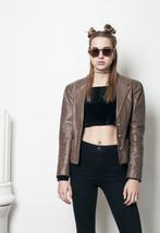 80s vintage cropped brown leather jacket - $77.10