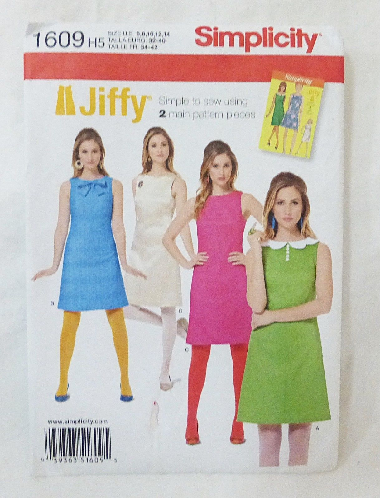 Primary image for Simplicity Jiffy 1960's Vintage Dress sewing pattern 1609 size H5 6-14