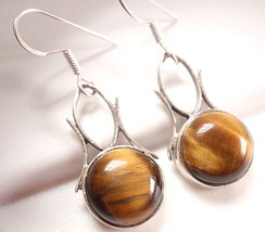 Tiger Eye Earrings 925 Sterling Silver Dangle D... - $19.75