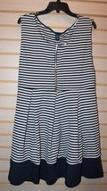 NEW WOMENS PLUS SIZE 3X ZIPPER TOP NAVY BLUE WHITE STRIPED PLEATED SKATE... - $19.34