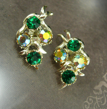 Green Rhinestone Earrings signed BSK Beauties Clip on Women's Wintry Ele... - $25.00
