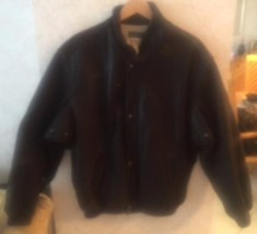 Pre-owned BARNEYS NEW YORK Men's Black Leather Bomber Jacket SZ L - $197.01