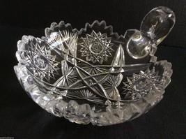 "Vtg American Brilliant Clear Crystal Cut Glass Handled Nappy Dish 6"" - $81.18"